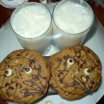 1 glass of milk, 2 pieces of cookies and 1 chocolate bar each for my 2 children