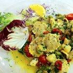 Tortelli di pesce con Polipo, Patate e asparagi