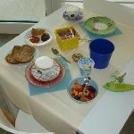 I piattini colorati che decorano i tavoli della sala colazione