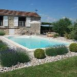Pool area and boules court