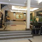 A view of the hotel lobby