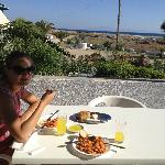 Enjoying a homemade lunch on our private balcony with ocean view