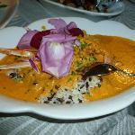 Tris di Antipasti caldi ( risotto al curry di riso venere con astice); Ristorante da Giuliano