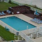 Saltwater pool with a deck