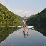 Becky on one of our peaceful mountain lakes.