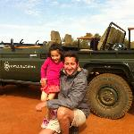 Our safari guide Adam with our five-year old daughter