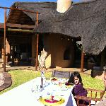 Lunch outside, believe we had Ostrich that day