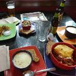 Wholesome food -- veggie kugel, tabouli, corn chowder, meatloaf