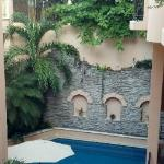 Acanto's outdoor courtyard and pool