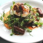 Courgette and Feta fritter with Merguez and poached Egg