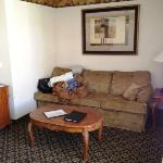 Front of suite is the living room, pull-out couch & desk