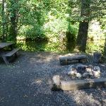 Fire pit, picnic table and creek in front of the Spring Cabin