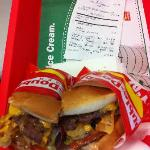Double double cooked rare Animal style cut in 1/2