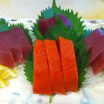 Red tuna and wild sockeye salmon sashimi.