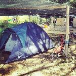 La mia tenda nell'area adibita in fondo al campeggio.