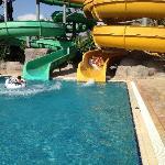 Sliding in aqua park