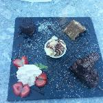 selection of deserts on a slate....very nice !