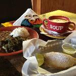 Shrimp Soup, Original Empanada, Seco Plate