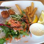 Salt & Pepper Squid, Salad and Chips