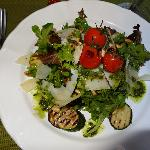 Mixed Lettuces with Grilled Courgettes, Shaved Parmesan, Pine Nuts and Pistou