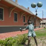 The grounds have unique bronze statues of children at play.