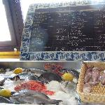 Chalk price board to choose your own fish menu