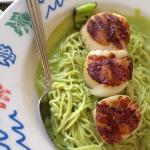 scallops over green chili pasta