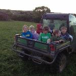An evening trip round the farm for the glamping kids