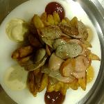fried sausages and potatoes,6 sauces