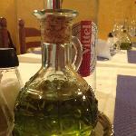 Quaint little bottle of olive oil