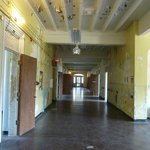 View of a hallway that has yet to be restored.
