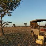 Stopping for sundowners on the wide open plains
