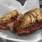 Pastrami and swiss on marble rye