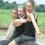 Elephant bath by our guests in Chitwan National Part