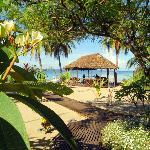 Le jardin avec la rotonde devant la plage