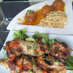 Turkey Kofta Masala $9 (top) and Moroccan Chicken Skewers $9