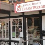 The Front door of Solavng Trolley Ice Cream Parlor