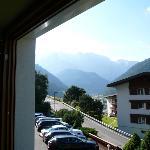 Il gruppo del Sella visto dalla camera dell'Hotel Fanes