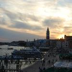 Sunset over the lagoon and san Marco