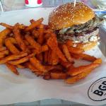 The Wellington burger and sweet potato fries