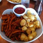appetizer plate with cheese curds and sweet potato fries