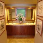 In room Master Bath double sinks, private toilet and shower
