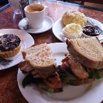 Roast chicken sandwich, scone & frangipani tart