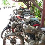 row of antique bikes in the hotel