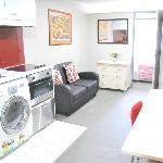 Washer/Dryer, Flatscreen TV, kitchen