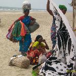 Colourful beach sellers