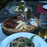 From the top of the pic, cheese platter, cured meats platter, snails.