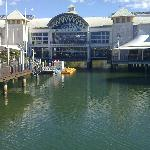 Shopping centre over water.