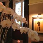 Many beautiful fresh flowers adorn the hotel interior