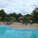 vue de la piscine sur les bungalows